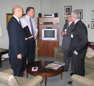 MPs Geoff Regan and Mike Savage with Jim Gates and Paul Boyle